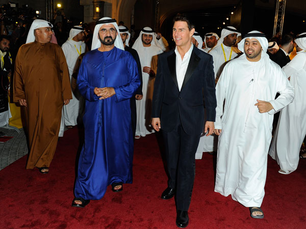 "His Highness Sheikh Mohammed bin Rashid Al Maktoum, Vice-President and Prime Minister of the UAE and Ruler of Dubai and actor Tom Cruise at the ""Mission: Impossible - Ghost Protocol"" Premiere during day one of the 8th Annual Dubai International Film Festival. (GETTY)"