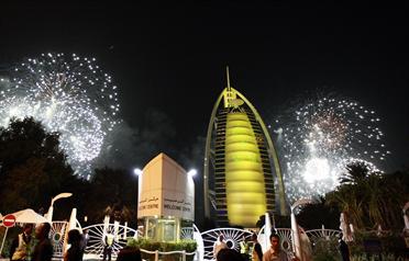 <span>Fireworks near Burj Al Arab light up the sky during New Year celebrations in Dubai January 1, 2010.<span> (</span>REUTERS)</span>