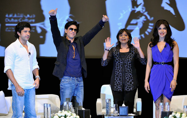 Actor and director Farhan Akhtar, actor Shah Rukh Khan (second right) and actress Priyanka Chopra (R) onstage ahead of an Q&A session on day two of the 8th Annual Dubai International Film Festival held at the Madinat Jumeriah Complex on December 8, 2011 in Dubai, United Arab Emirates. (GETTY IMAGES)