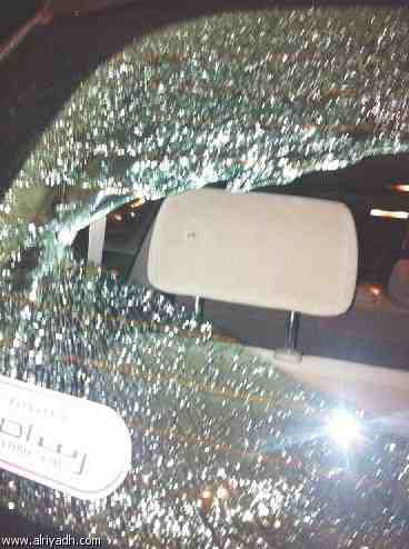 The car's smashed glass (Courtesy Alriyadh)