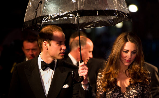 Prince William, Duke of Cambridge and Catherine, Duchess of Cambridge attend the UK premiere of War Horse at the Odeon Leicester Square on January 8, 2012 in London, England. (GETTY)