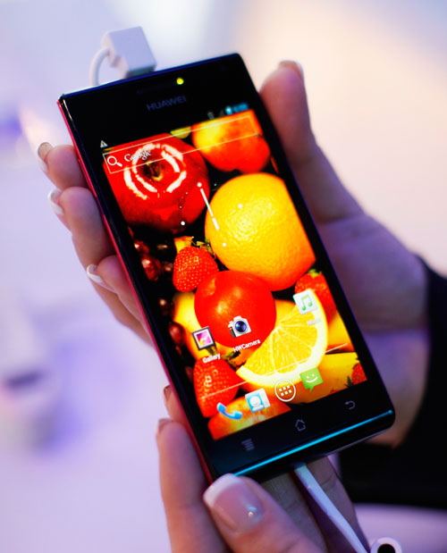 The Huawei Ascend P1 S is shown at the Consumer Electronics Show in Las Vegas January 11, 2012. Huawei claims it is the world's thinnest smartphone at 6.68mm and will be available later this year (REUTERS)
