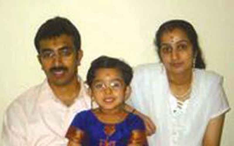 Rijesh with his wife Shreesha and daughter (SUPLLIED)