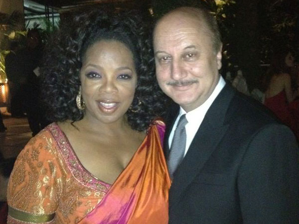 Oprah Winfrey with actor Anupam Kher in Mumbai at a private party. (Pic: Twitter)