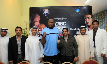 Bob Sapp and Eisa Al Dah with organisers and sponsors at the launch of the Dubai International Boxing Championships on Wednesday. (PATRICK CASTILLO)