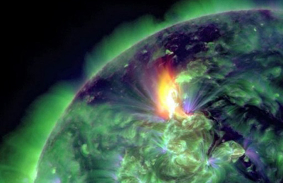 A January 19 image provided by NASA shows an M3.2 solar flare captured by the Solar Dynamics Observatory. A potent solar flare has unleashed the biggest radiation storm since 2005 and could disrupt some satellite communications in the polar regions, US space weather monitors said Monday. (AFP)
