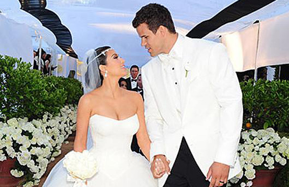 Kim Kardashian and Kris Humphries at their wedding, at a private estate in Montecito, Calif., Aug. 20, 2011. She announced they were divorcing 72 days after.