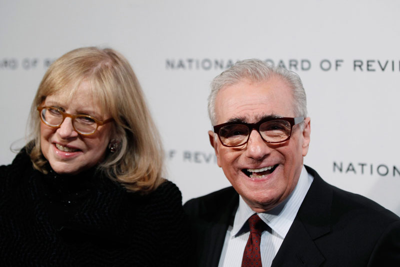 "Director Martin Scorsese with wife Helen Morris. Scorsese's adventure film ""Hugo"" topped Oscar nominations on Tuesday. (Reuters)"