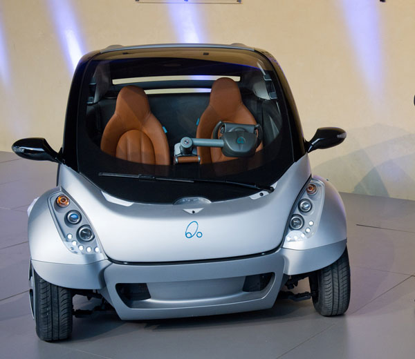 The first prototype of the HIRIKO electric car during the global launch of Hiriko Driving Mobility at the EU Commssion headquarters on January 24, 2012 in Brussels, Belgium. (GETTY)