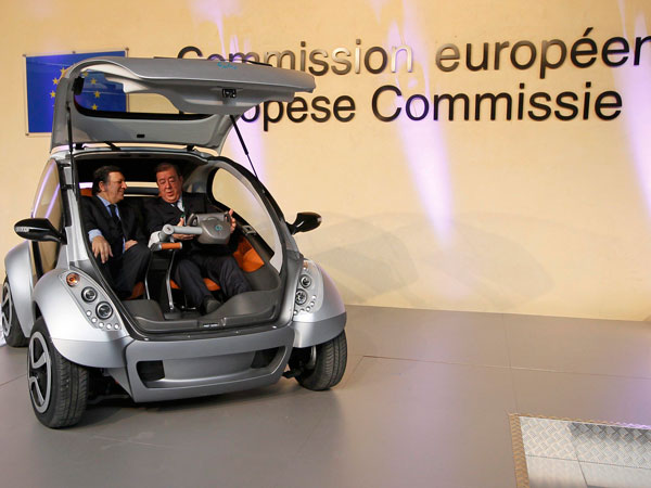 The first prototype of the HIRIKO electric car, during the global launch of Hiriko Driving Mobility, at the EU Commssion headquarters on January 24, 2012 in Brussels, Belgium. (GETTY)