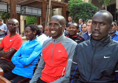 Kenya's Martin Lel (second right) headlines the quality field at the Dubai Standard Chartered Marathon. (PATRICK CASTILLO)
