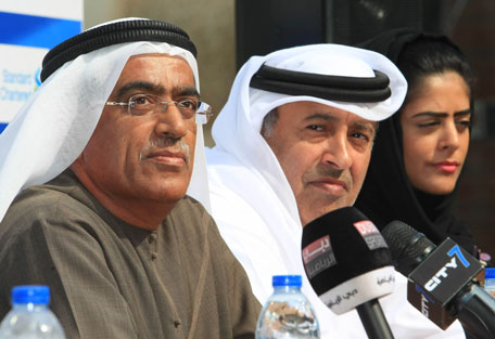 Ahmed Al Kamali (left), head of the UAE Athletic Association, Ahmad Al Matrooshi (centre), Managing Director Emaar Properties and Budreya Faisal of the Dubai Sports Council at the press conference. (PATRICK CASTILLO)