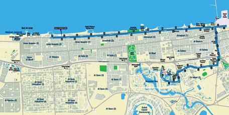 Dubai Marathon map - 42km