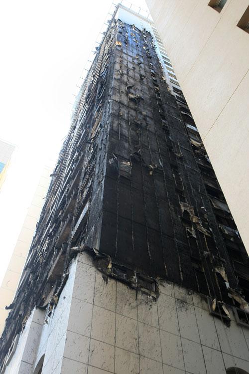 Al Bakar 'A' Tower after fire was put out by civil defence team (Chandra Balan)