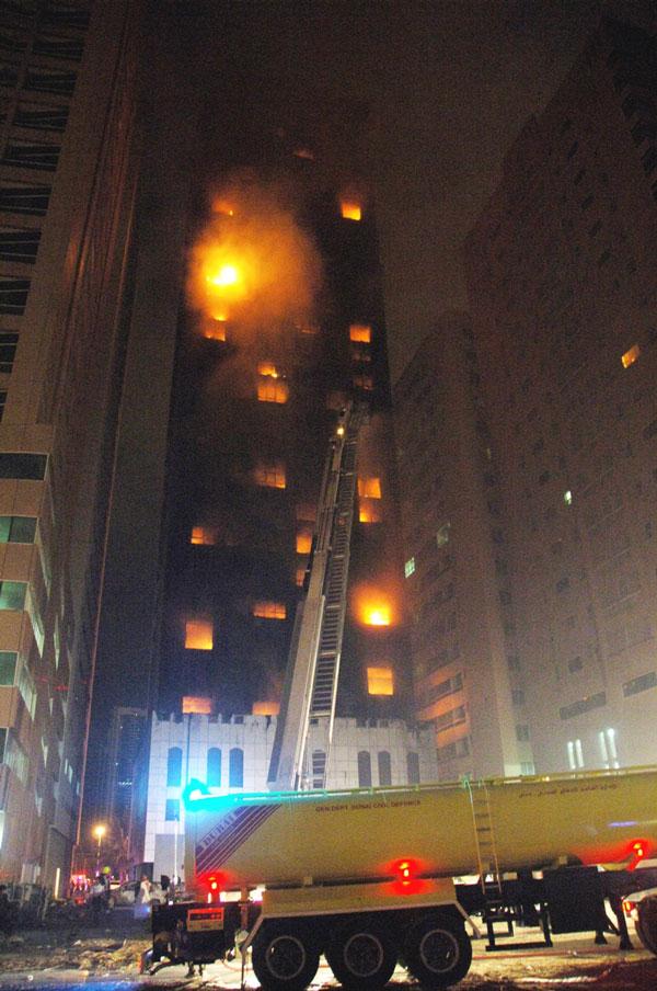 Al Bakar 'A' Tower on fire (SUPPLIED)