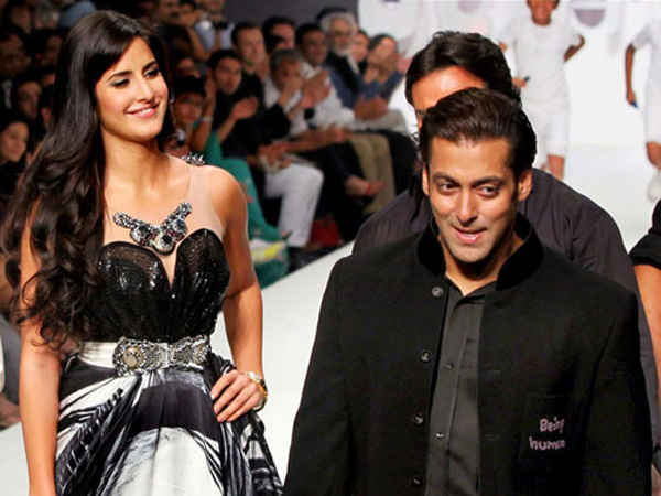 (FILE) Katrina Kaif and Salman Khan walked together on the ramp for Salman Khan's foundation Being Human on the second day of the HDIL India Couture Week in Mumbai. (AFP)