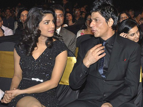 Shah Rukh Khan and Priyanka Chopra at an event. (AFP)