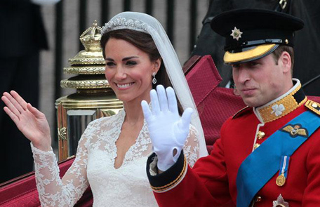 Prince William and Duchess Catherine on their wedding day