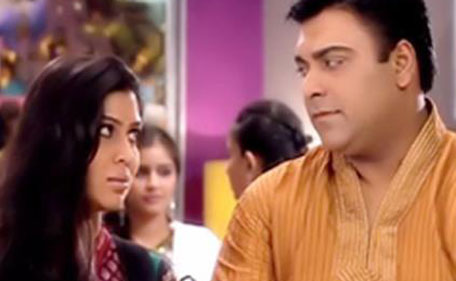 Still from top-rated television show 'Bade Achhe Lagte Hain', featuring Ram Kapoor and Sakshi Tanwar. The soap is telecast on Sony channel.