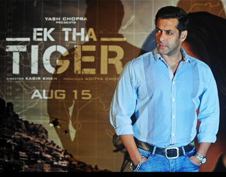 Salman Khan seen at an 'Ek Tha Tiger' promotional event in Mumbai July 12. (Getty Images)