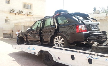 The car in which Prince Al Waleed was at the time of the accident. (Twitter)