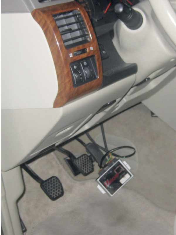 Special pedal setup for turbocharge inside car. (SUPPLIED)