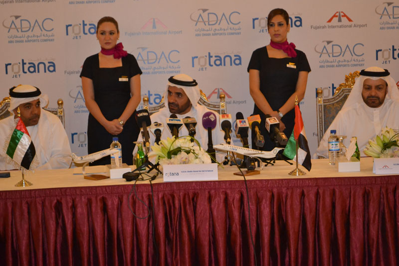 Dr Sheikh Ahmed bin Saif Al Nahyan, chairman of Rotana Jet Aviation, speaking at the news conference in Abu Dhabi on Sunday.