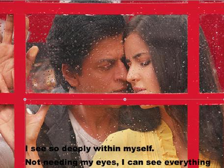 Bollywood actor Shah Rukh Khan and Katrina Kaif captured inside a phone booth in 'Jab Tak Hai Jaan'. (Pic: Twitter)