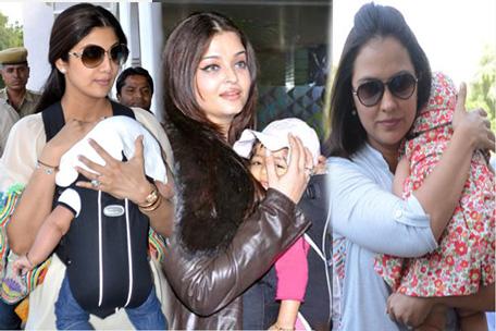 Bollywood actresses with their new born babies; Shilpa Shetty (L), AIshwarya Rai Bachcchan (C), Lala Dutta (R). (SUPPLIED)