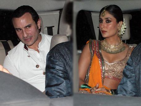 Bollywood actor Saif Ali Khan and Kareena Kapoor arrive for their pre-wedding celebration. (Sanskriti Media & Entertainment)