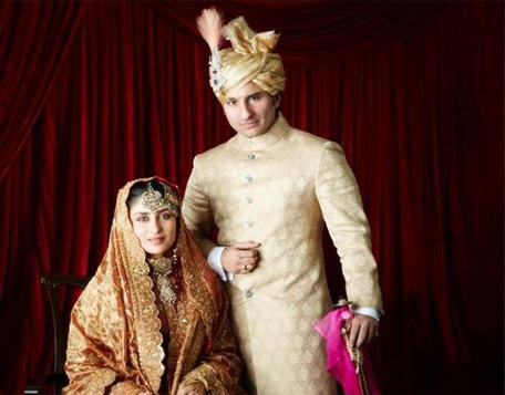 Bollywood actor Saif Alli Khan and Kareena Kapoor's official wedding picture. (SUPPLIED)