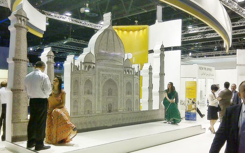 A replica of the Taj Mahal facade at Cityscape Global exhibition in Dubai (SUPPLIED)