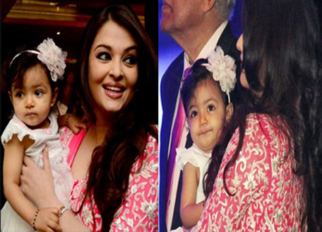 Bollywood actress Aishwarya Rai Bachchan with her daughter Aaradhya as she was conferred with the French civilian award, Officer Dan Ordre Arts et des Lettres in Mumbai on November 1. (Sanskriti and Media)