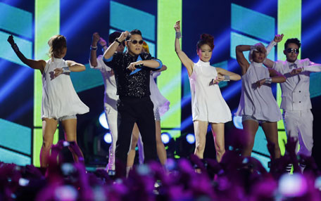South Korean Psy performs during the 2012 MTV European Music Awards show at the Festhalle in Frankfurt. (AP)
