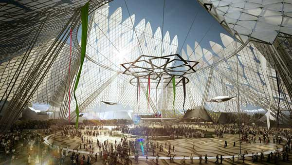 An artist's rendering of the Dubai, UAE, Expo 2020 site at night (SUPPLIED)