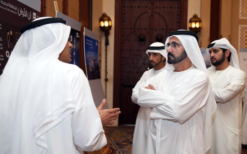 Sheikh Mohammed, Sheikh Hamdan and Sheikh Maktoum bin Mohammed listen to briefing on the project (Wam)