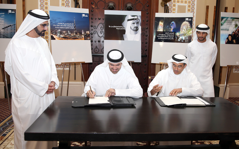 Mohammed bin Rashid witnesses agreement signing between Mohammed Al Gergawi (Dubai Holding) and Mohammed Al Abbar (Emaar Properties) (Wam)