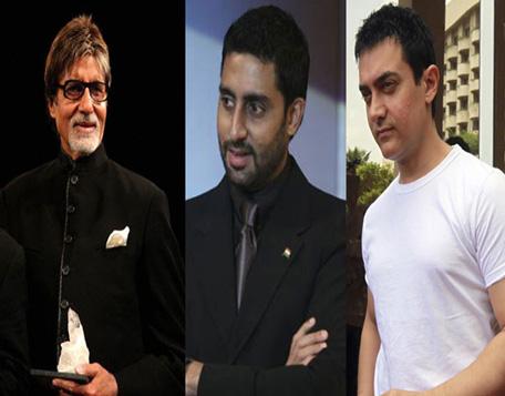 Bolyywodd actor Amitabh Bachchan, Abhishek Bachchan and Aamir Khan. (AFP)