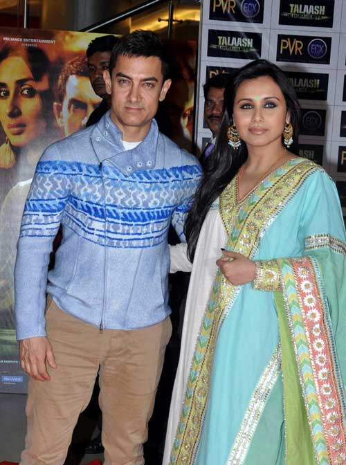 """Aamir Khan and actress Rani Mukerjee pose as they attend the premier of Hindi film """"Talaash"""" (AFP)"""