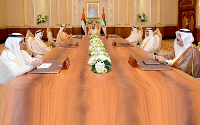 Sheikh Khalifa receives at Diyafa Palace in Al Mushrif, Vice-President and Prime Minister and Ruler of Dubai His Highness Sheikh Mohammed bin Rashid Al Maktoum, Their Highnesses Members of Supreme Council and Rulers of Emirates, Crown Princes and Deputy Rulers (Wam)