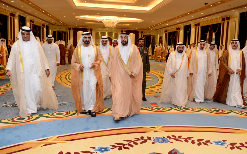 Sheikh Khalifa receives Vice-President and Prime Minister and Ruler of Dubai His Highness Sheikh Mohammed bin Rashid Al Maktoum, Their Highnesses Members of Supreme Council and Rulers of Emirates, Crown Princes and Deputy Rulers (Wam)