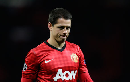 Manchester United's Javier Hernandez walks from the pitch after his team's 1-0 loss to CFR Cluj in their Champions League match at Old Trafford Stadium, in Manchester, England, on Dec. 5, 2012. (AP)