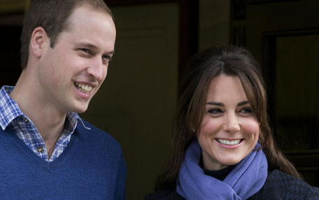 Prince William stand next to his wife Kate, Duchess of Cambridge. (AP)