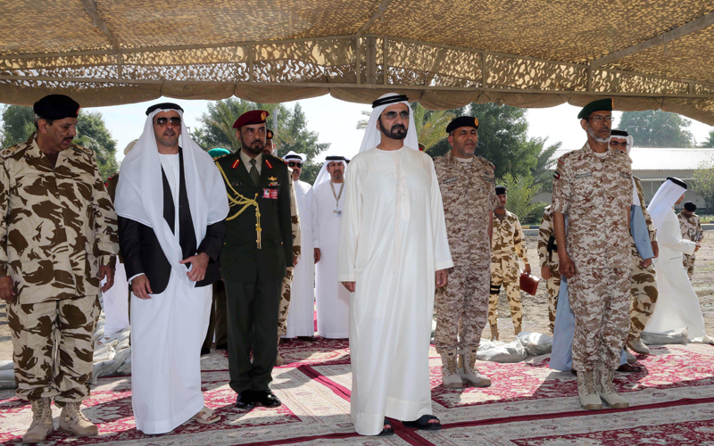 Sheikh Mohammed visits a UAE military unit based in Bahrain as part of the Peninsula Shield Force. (Wam)