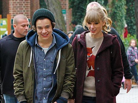 Singer Taylor Swift (R) with boyfriend/singer Harry Styles. (BANG)