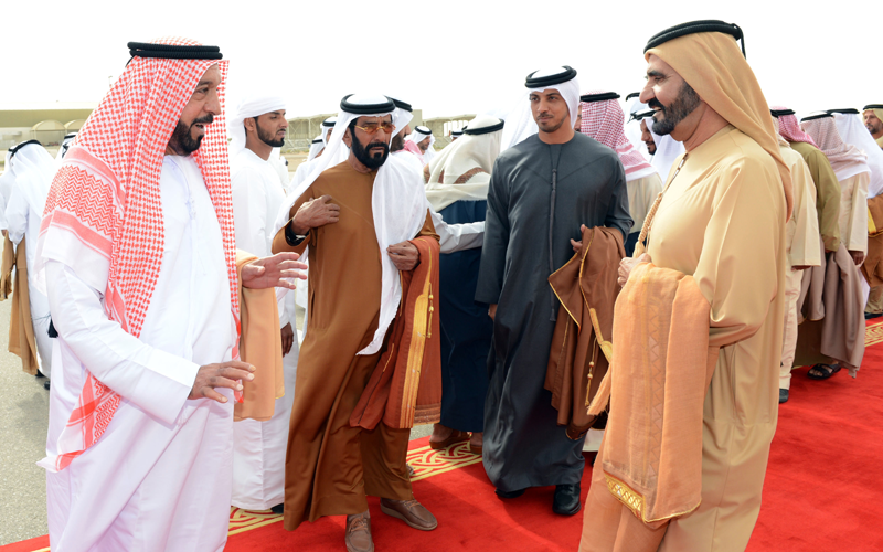 Sheikh Khalifa received by Sheikh Mohammed. (Wam)