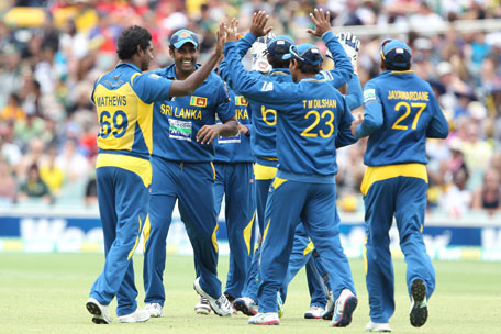 Sri Lanka celebrates the wicket of Australia's Aaron Finch during the second one-day international in Adelaide, Australia, on Sunday, January 13, 2013. (AP)