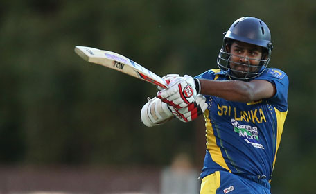 Lahiru Thirimanne of Sri Lanka plays a shot during the second one-day international against Australia in Adelaide on January 13, 2013. (REUTERS)