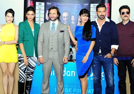 Star-cast of the upcoming Bollywood movie 'Race 2' pose for photo op during a promotional event in Dubai, January 16, 2013. Photo by Ashok Verma
