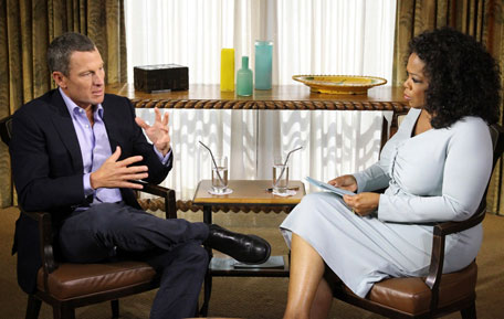 Cyclist Lance Armstrong is interviewed by Oprah Winfrey in Austin, Texas, in this January 14, 2013 handout photo courtesy of Harpo Studios. (REUTERS)